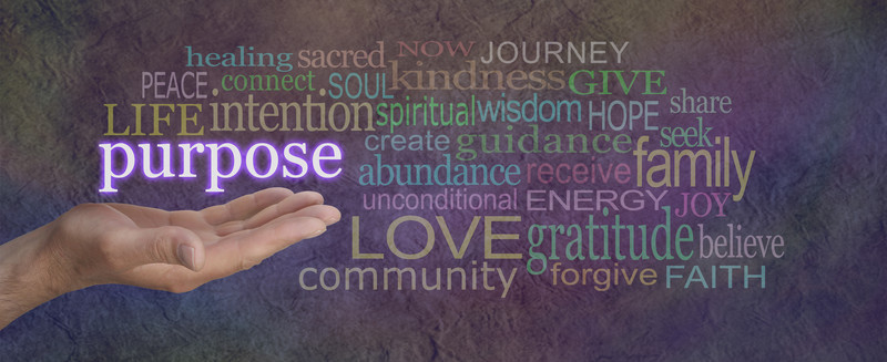 A picture on the Spiritual Support page that displays purpose, love, gratitude, faith, and believe
